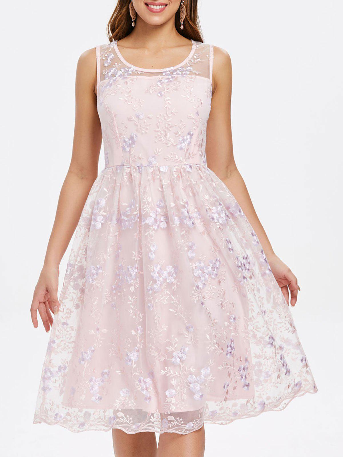 Fancy Floral Embroidery Sleeveless A Line Dress