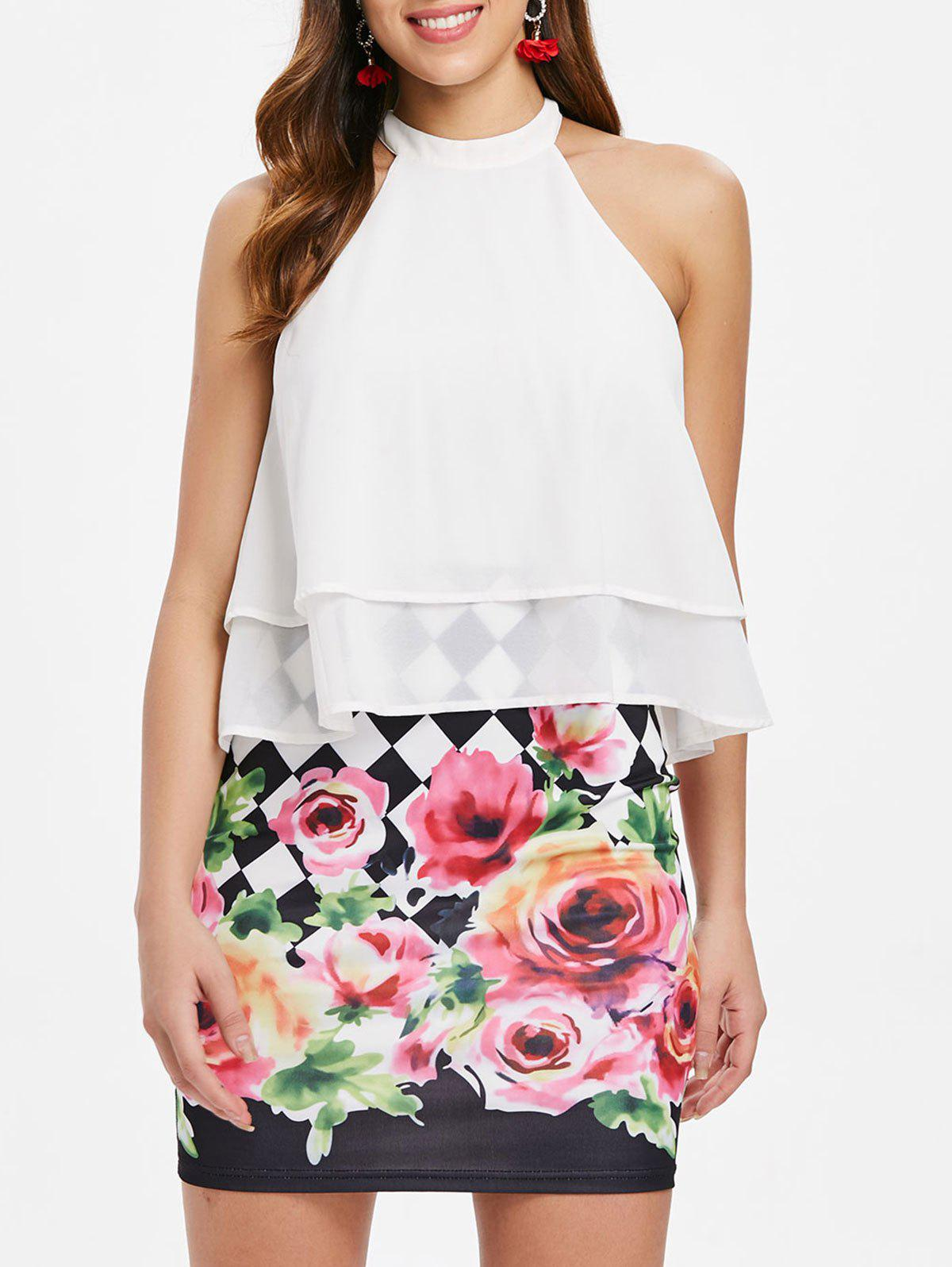Trendy Floral Print Layered Popover Dress
