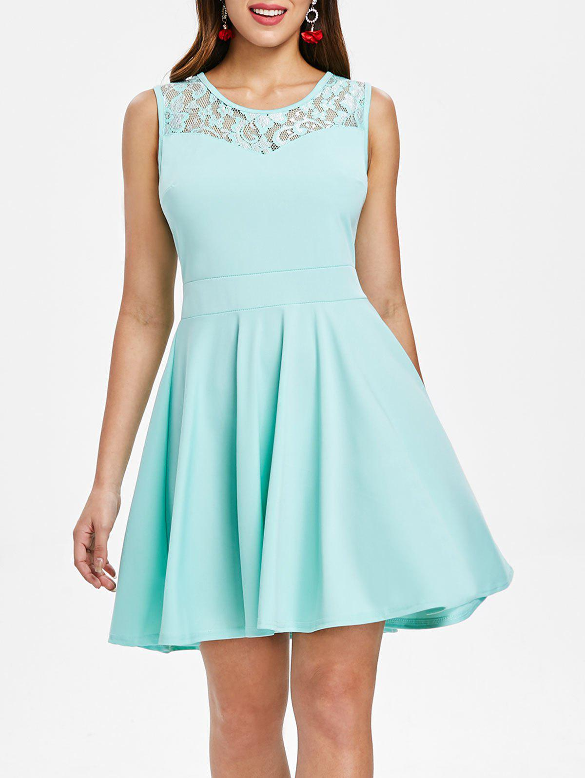 Online Lace Insert Sleeveless Fit and Flare Dress