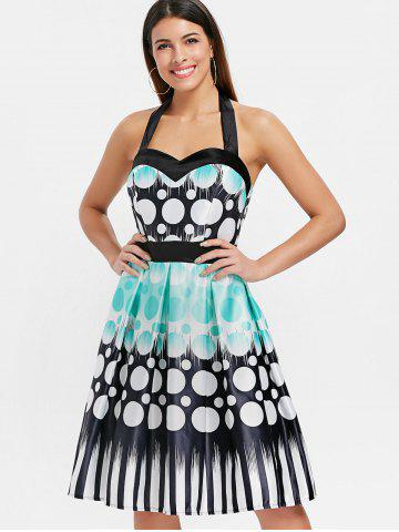 Halter Neckline Polka Dot Print Dress