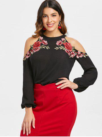Floral Applique Full Sleeve Cold Shoulder Blouse