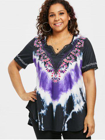 Plus Size Tie Dye Curved Hem T-shirt