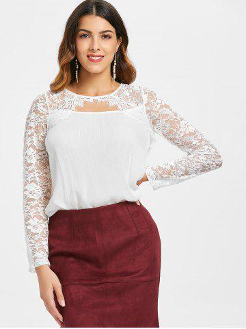 See Through Floral Lace Cut Out Blouse