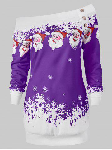 Pullover Santa Claus Snowflake Skew Neck Christmas Sweatshirt - PURPLE - XL