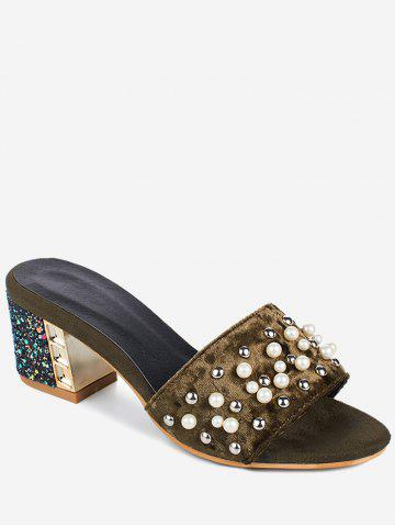 Plus Size Glitters Chunky Heel Mules Shoes