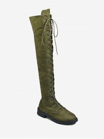 Plus Size Lace Up Casual Knee High Boots