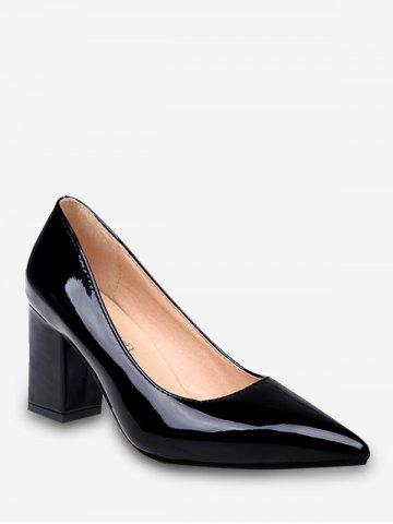 Plus Size Chunky Heel Pointed Toe Pumps
