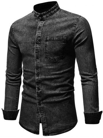 Patch Pocket Stand Collar Long Sleeve Shirt