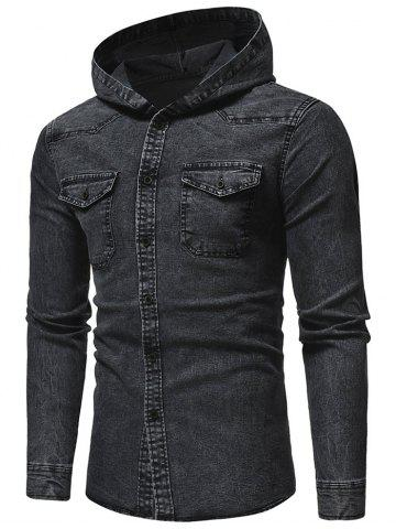 Button Up Denim Hooded Shirt