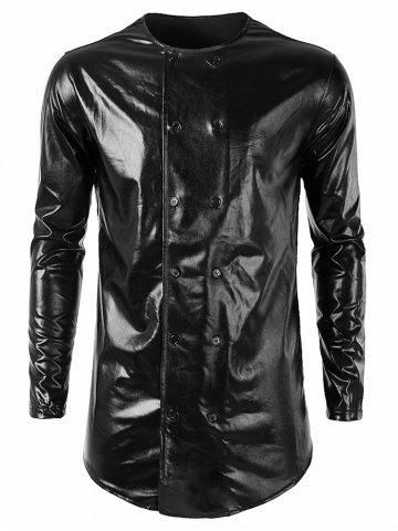 Night Club Style Double Breasted Hem Curved Shiny Shirt