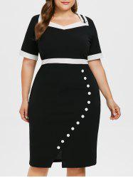 Sweetheart Neck Plus Size Button Embellished Bodycon Dress -