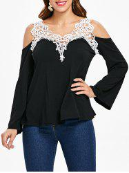Cold Shoulder Lace Panel Color Block T-Shirt with Long Sleeve -