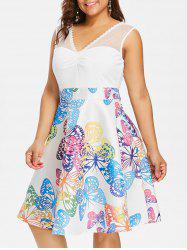 Butterflies Print Ruched Bust Plus Size Dress -