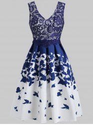 Lace Panel Butterflies Print Dress -