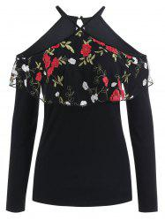 Floral Embroidery Flounce Cold Shoulder Top -