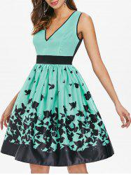 Butterflies Print V Neck Flare Dress -
