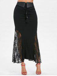 Lace Panel Maxi Fishtail Skirt -