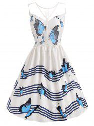 Butterfly Wave Stripe Print Sleeveless Vintage Dress -