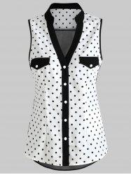 Polka Dot Panel Sleeveless Blouse -