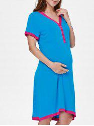 Short Sleeve Color Block Sleep Dress -