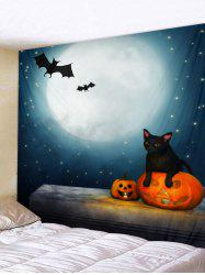 Wall Hanging Art Halloween Moon Cat Print Tapestry -