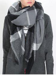 British Style Plaid Pattern Soft Shawl Scarf -