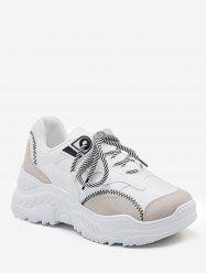 Contrasting Color Leisure Lace Up Sneakers -