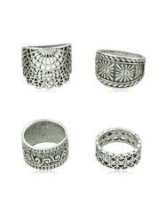 4Pcs Hollow Out Finger Ring Set -