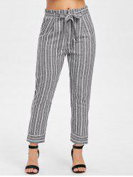 High Waist Striped Panel Pants with Belt -