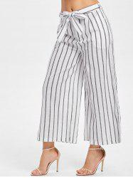 Belted Striped Panel Wide Leg Pants -