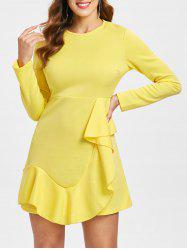 Flounce Trim Asymmetrical Mini Dress -