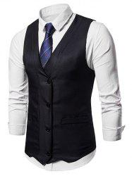 V Neck False Pocket Vest -