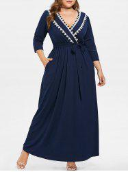 Plus Size Embroidered Maxi Surplice Dress -