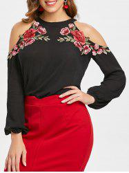 Floral Applique Full Sleeve Cold Shoulder Blouse -