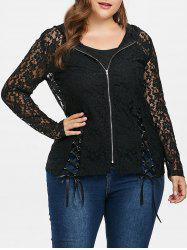 Plus Size Lace Up Lace Jacket with Camisole -