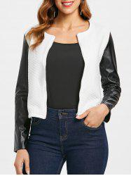 Color Block PU Sleeve Jacket -