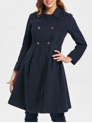 Double Breasted Woolen Skirted Coat -