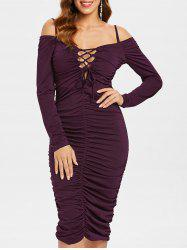 Ruched Cold Shoulder Bodycon Dress -