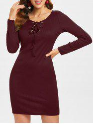 Long Sleeve Lace-up Ribbed Dress -