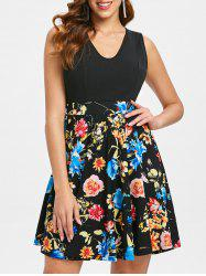 Floral Print Sleeveless Skater Dress -