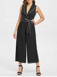 Low Cut Contrast Belted Wide Leg Jumpsuit -