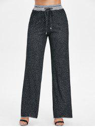 Contrasting High Rise Marled Wide Leg Pants -