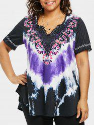 T-Shirt Ourlet Courbé Tie Dye Grande Taille -