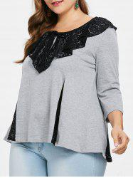 Plus Size Lace Collar Flared Top -