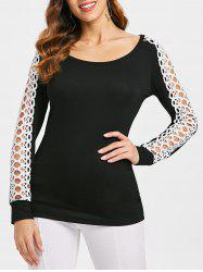 Hollow Out Crochet Insert Full Sleeve T-shirt -