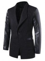 Slim Fit PU Leather Panel Coat -