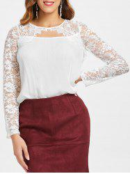 See Through Floral Lace Cut Out Blouse -