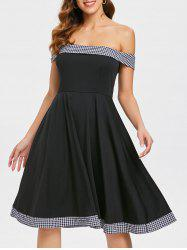 Retro Off The Shoulder Checked Swing Dress -