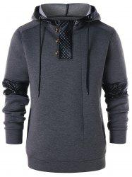 PU Leather Panel Drawstring Hoodie -