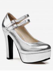 Plus Size Buckles Shimmering High Heel Pumps -